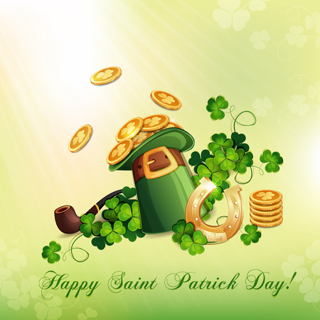 Saint Patrick s Day card with hat ,horseshoe and clover  Illustration