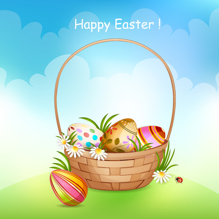 Illustration of basket full of colorful decorated Easter eggs