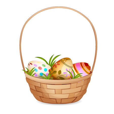 eggs basket: Basket with Easter eggs isolated on a white background