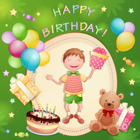 little boy cartoon: Happy birthday illustration with happy boy holding a gift box