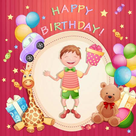 happy young: Happy birthday illustration with happy boy holding a gift box