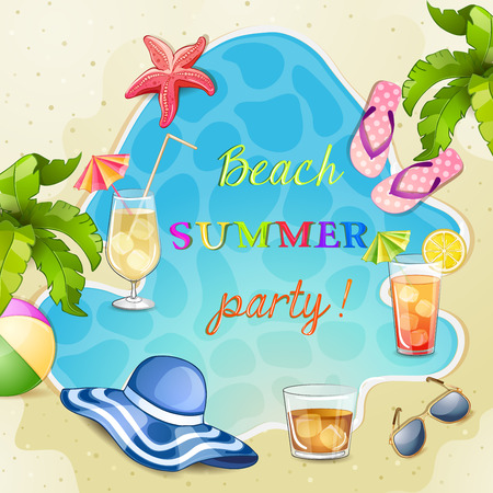 flops: Summer beach party illustration with cocktail glasses