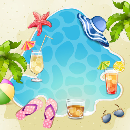 flops: Summer beach illustration with cocktail glasses