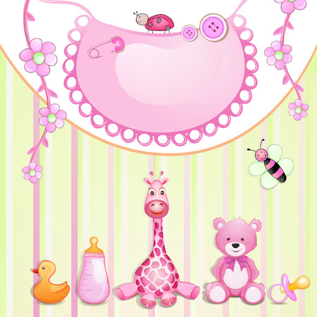 bee birthday party:  Baby shower card with toys