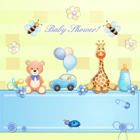 Baby shower card with toys   Illustration