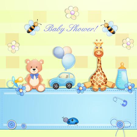 carritos de juguete: Tarjeta de Baby Shower con los juguetes Vectores