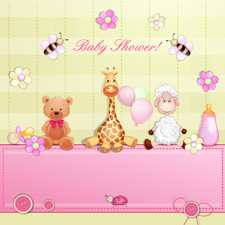 home birth: Baby shower card with toys   Illustration