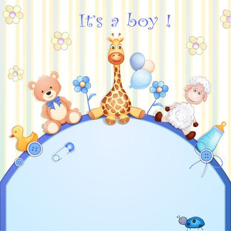teddies: Baby shower card with toys   Illustration