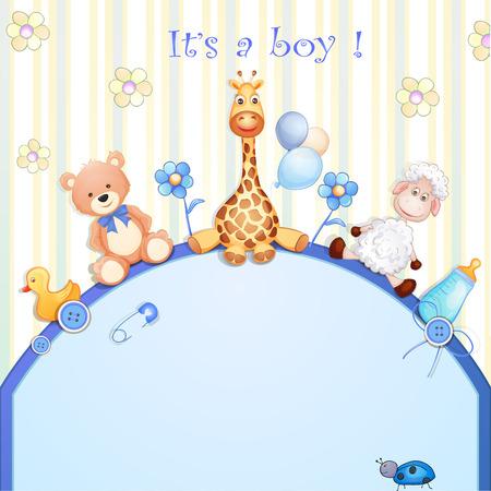 masculino: Tarjeta de Baby Shower con los juguetes Vectores