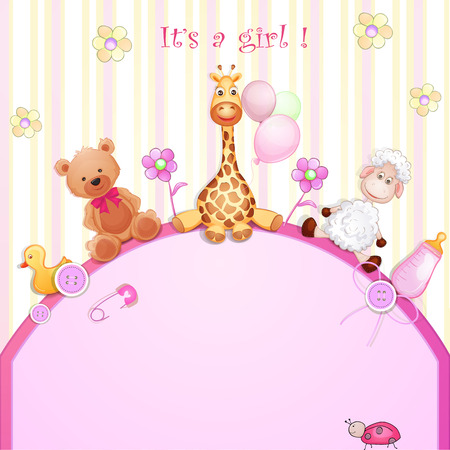 Baby shower card with toys   向量圖像