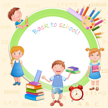 school girl uniform: Back to school illustration with happy kids