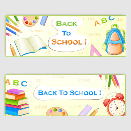 niños con pancarta: Volver a los banners de la escuela