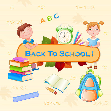 Back to school illustration with happy kids. Vector