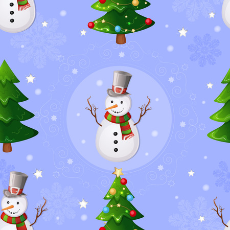 Christmas seamless pattern with snowman and Christmas tree.