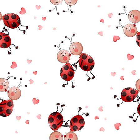 mariposa caricatura: Patrón sin fisuras con linda pareja de mariquitas besos. Vectores