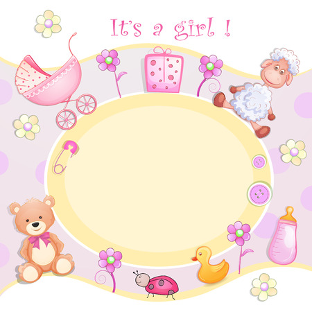 Baby shower card with toys. Vector