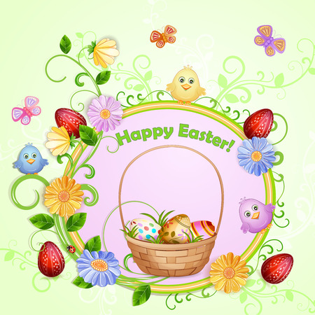beautifull: Easter illustration with eggs and beautifull flowers.