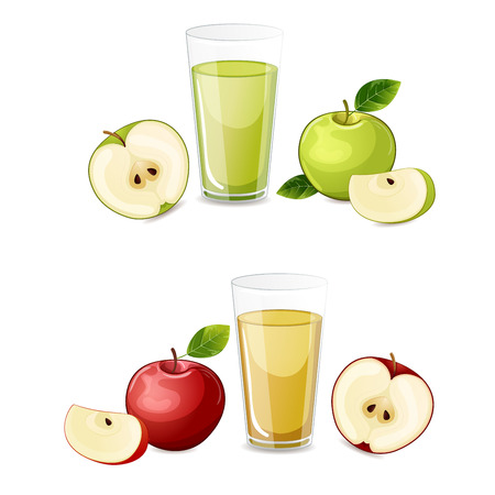 Set of red and green apple fruits juice.