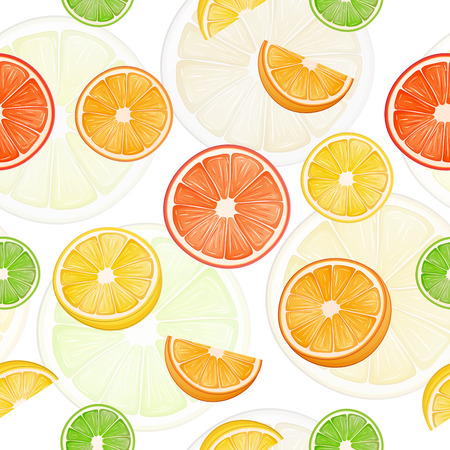 slice: Citrus seamless pattern with  lemons and oranges.