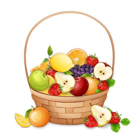 fruit basket: Basket with fresh,delicious fruits isolated on white. Illustration