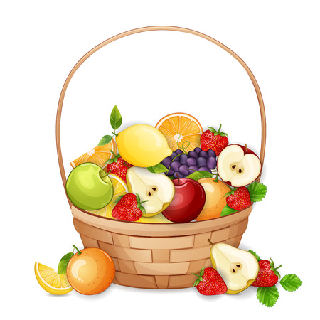summer fruits: Basket with fresh,delicious fruits isolated on white. Illustration