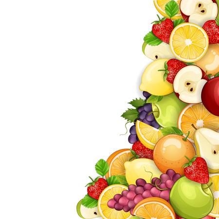 alimentos saludables: Frutas deliciosas ilustración fronteriza.