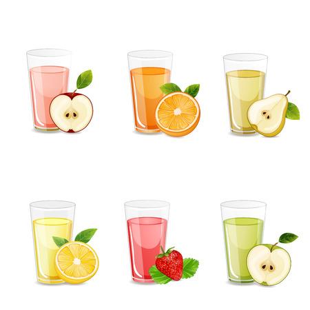 vaso de jugo: Conjunto de sabrosos jugos frescos.