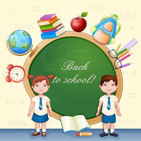 niño escuela: Volver a la ilustración de la escuela con los alumnos felices.