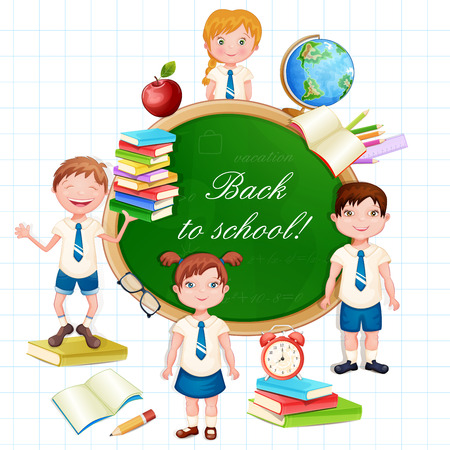 school uniform: Back to school illustration with happy pupils. Illustration