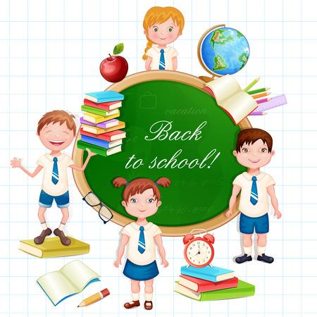 Back to school illustration with happy pupils. Illustration