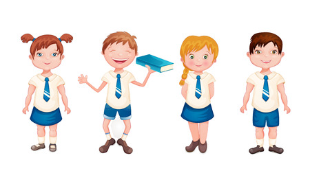 uniforme escolar: Felices los ni�os en uniforme escolar aislados en blanco