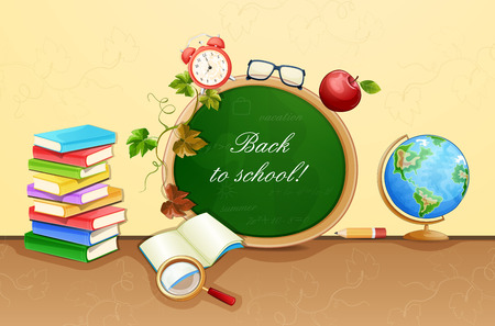 cartoon globe: Back to school illustration.