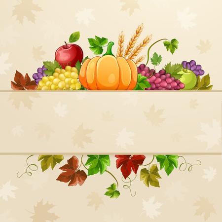 Autumn  illustration for  thanksgiving day. Illustration