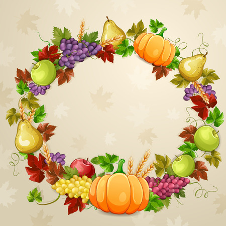 thanksgiving day greetings: Autumn  illustration for  thanksgiving day. Illustration