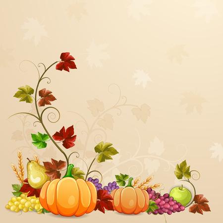 Ilustración otoño por un día de acción de gracias. Ilustración de vector