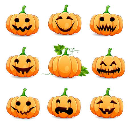 scary face: Set pumpkins for Halloween isolated on white