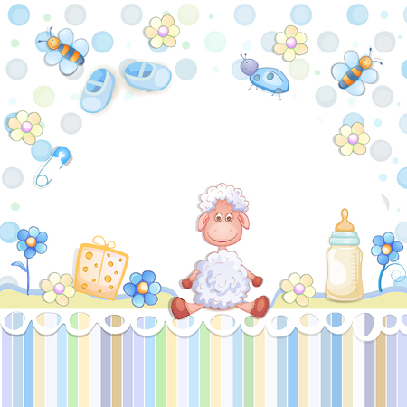 baby toys: Baby shower card with toys.