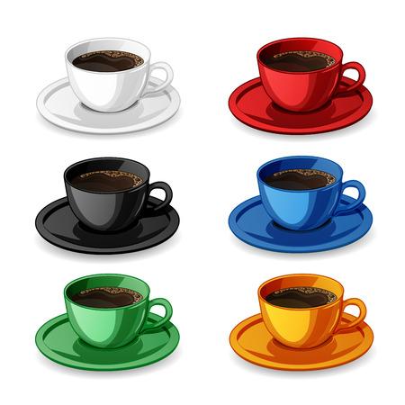 ceramica: Conjunto de tazas de café de colores aislados en blanco. Vectores