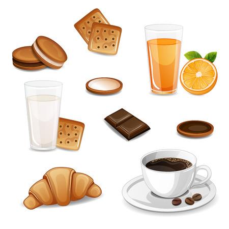 La colazione del mattino con caffè, cornetto, succo di frutta, latte e biscotti isolati su bianco.
