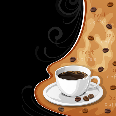 Background with cup of coffee and beans.
