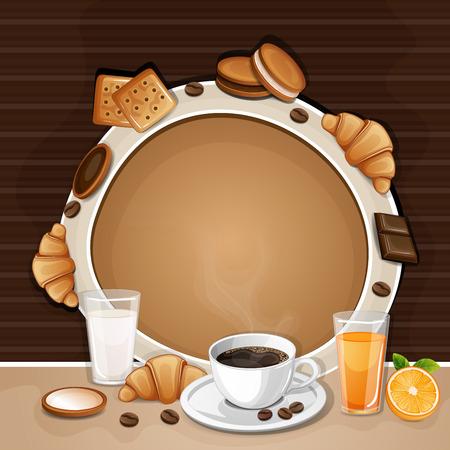 galletas: fondo desayuno con café, croissant, galletas y galletas. Vectores