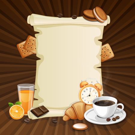 breakfast cup: Breakfast background with coffee cup.