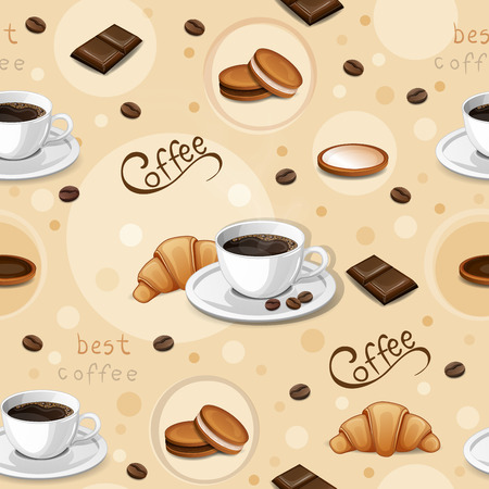 croissants: Seamless pattern with coffee cups, beans, cookies, croissants and chocolate. Illustration