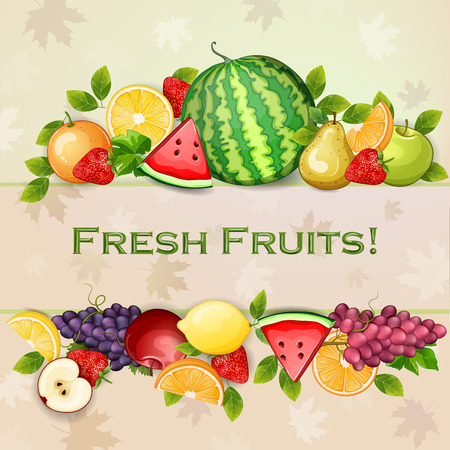 Delicious fresh fruits background.