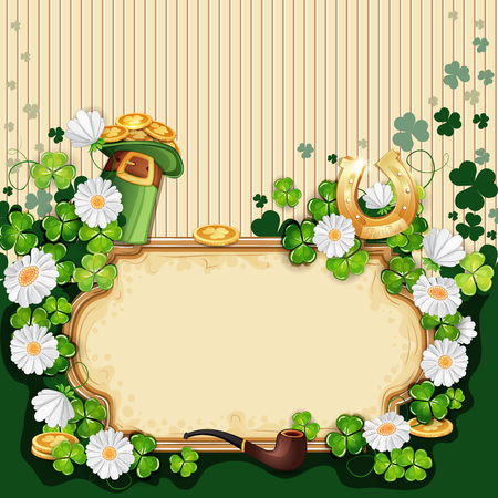 Saint Patricks Day card with hat, horseshoe and clover