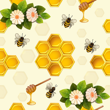 Seamless pattern with bees and honeycomb Illustration