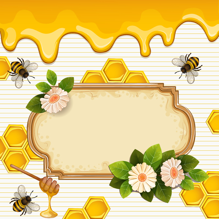 Beautiful background with bees,honey, flowers and honeycomb Illustration