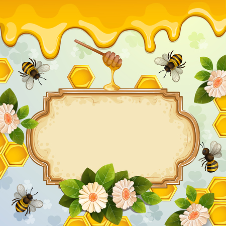 Beautiful background with bees, honey, flowers and honeycomb. Illustration