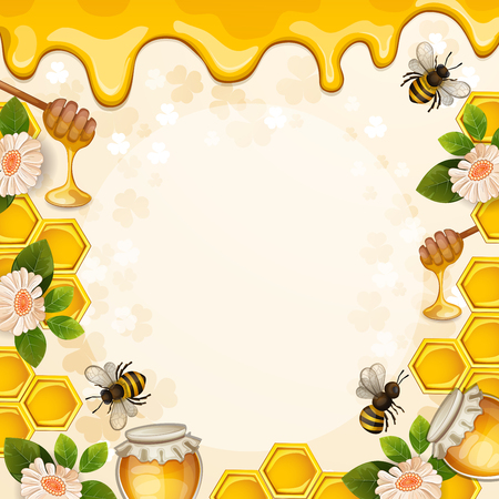 Beautiful background with bees,honey,jar, flowers and honeycomb