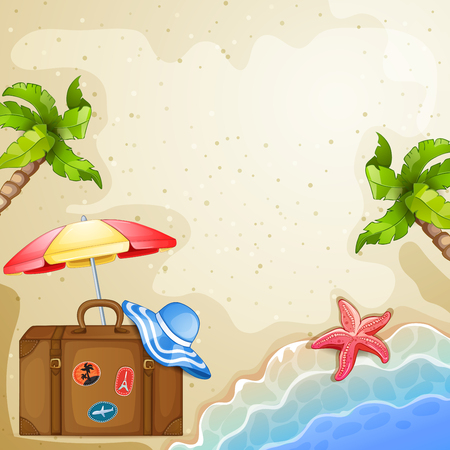 Summer elements with vintage suitcase,sea and trees.